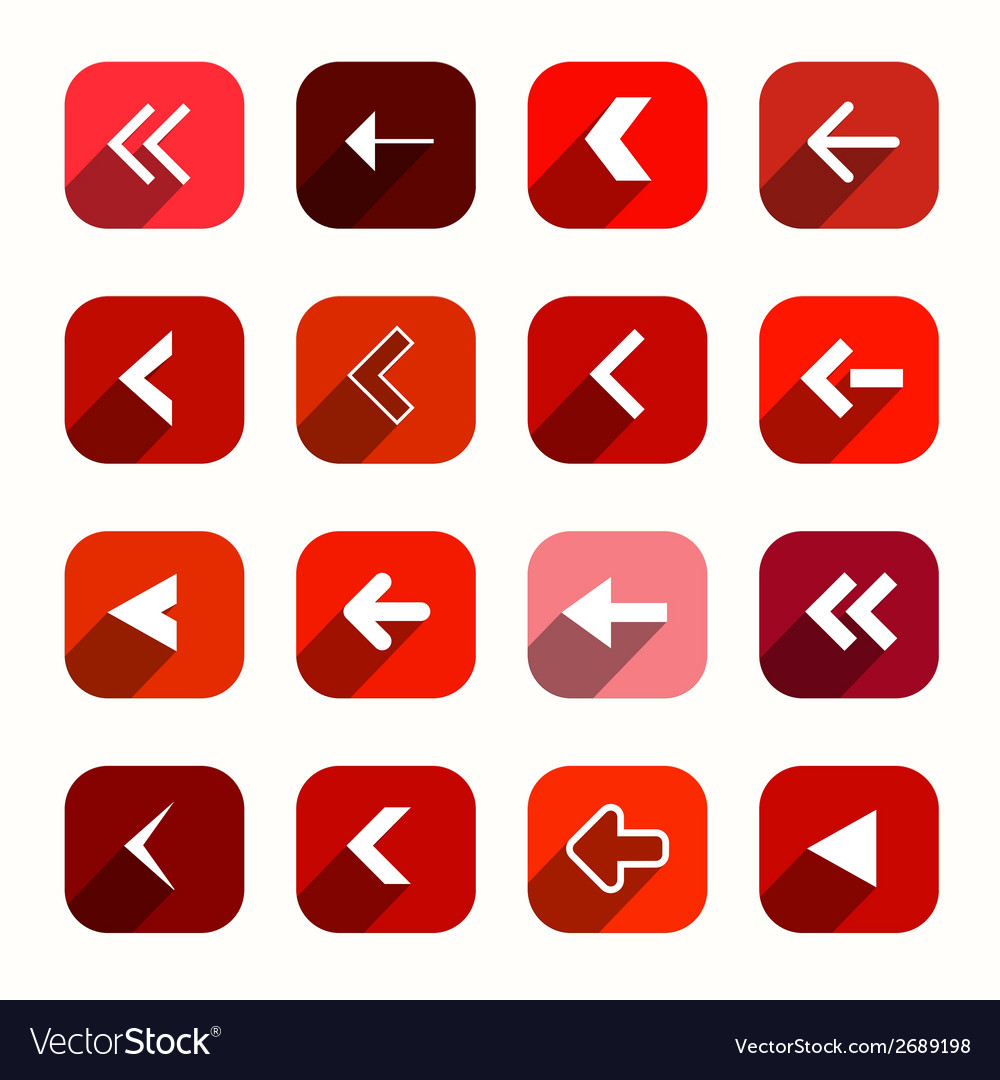 Red flat design arrows set in rounded squares vector | Price: 1 Credit (USD $1)