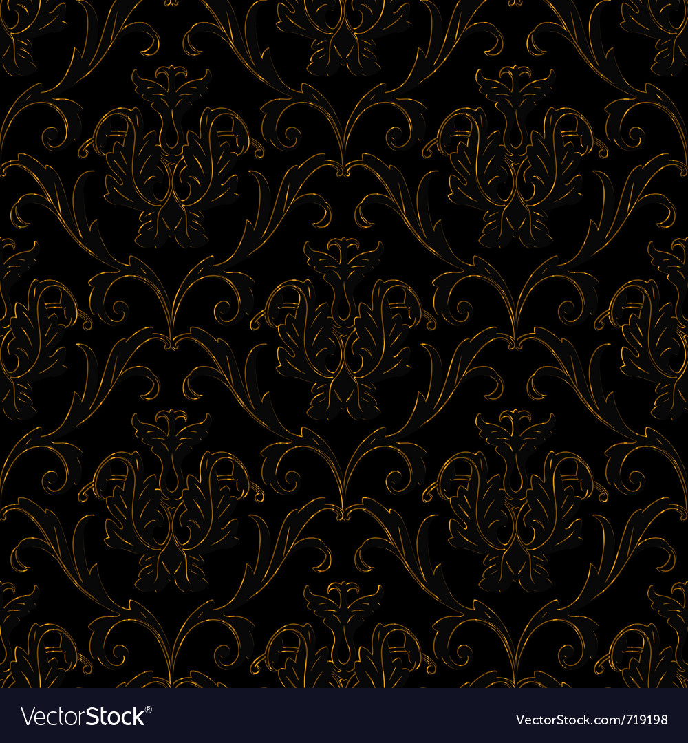 Seamless black with gold stripe floral background vector | Price: 1 Credit (USD $1)