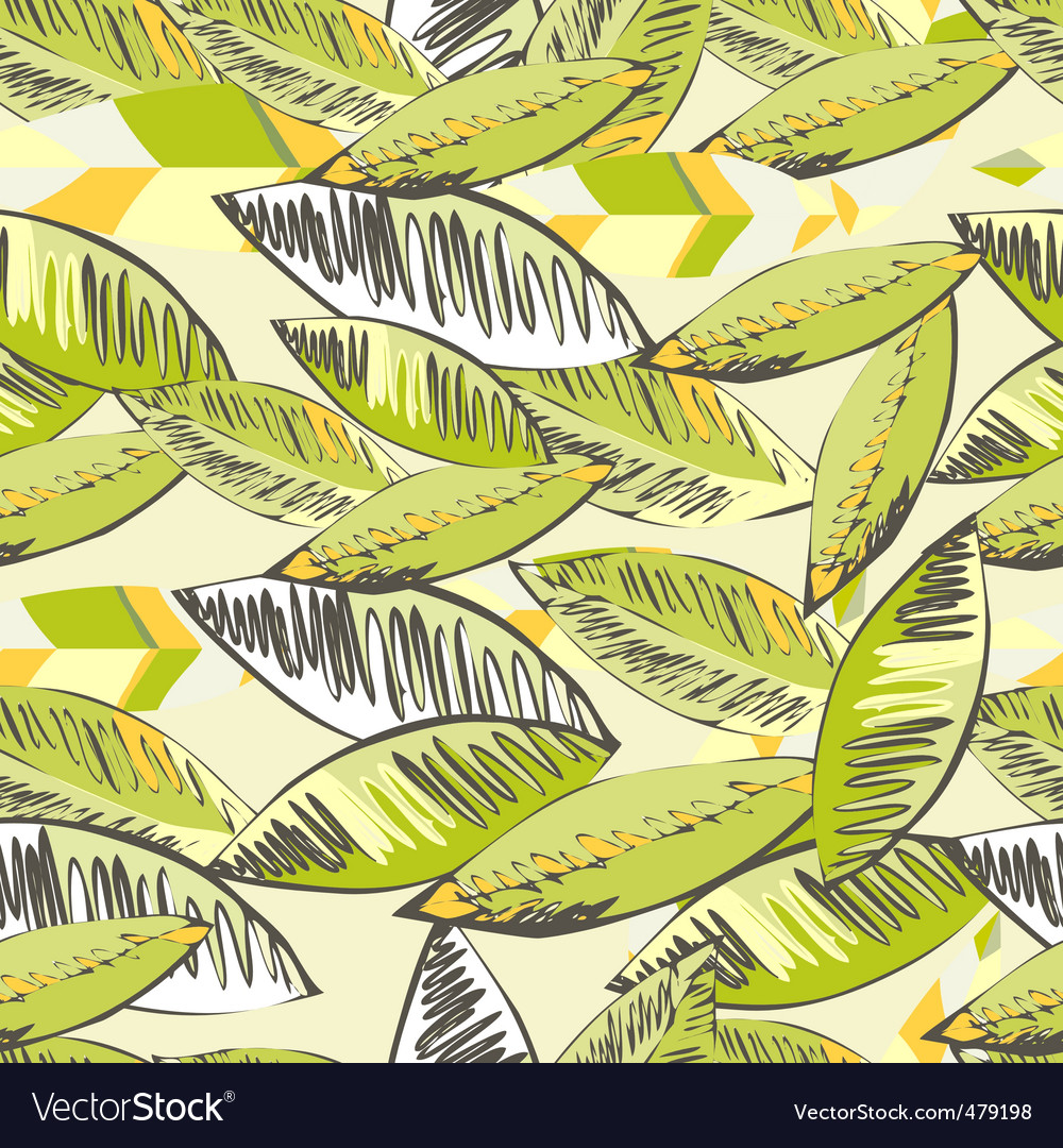 Seamless wallpaper with decorative leaves vector | Price: 1 Credit (USD $1)