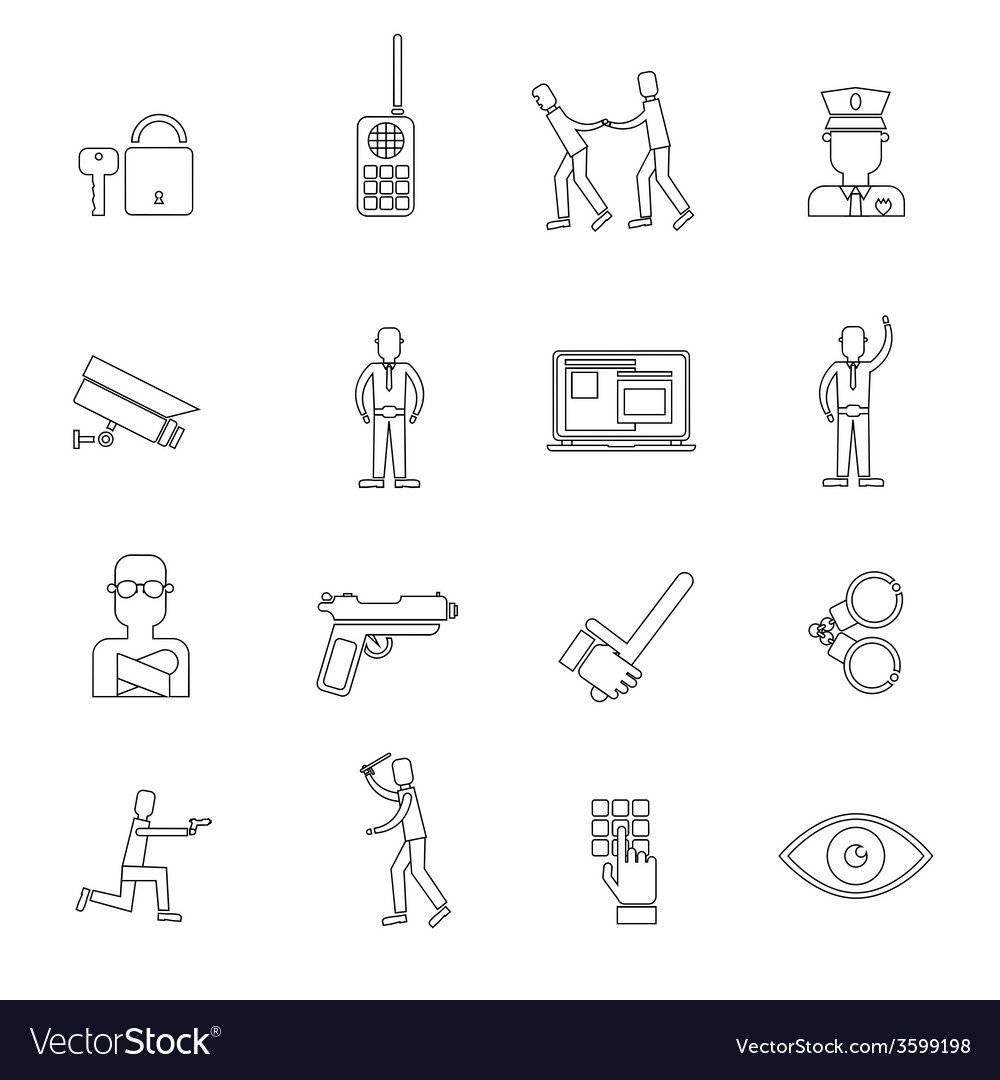 Security guard outline icons vector | Price: 1 Credit (USD $1)