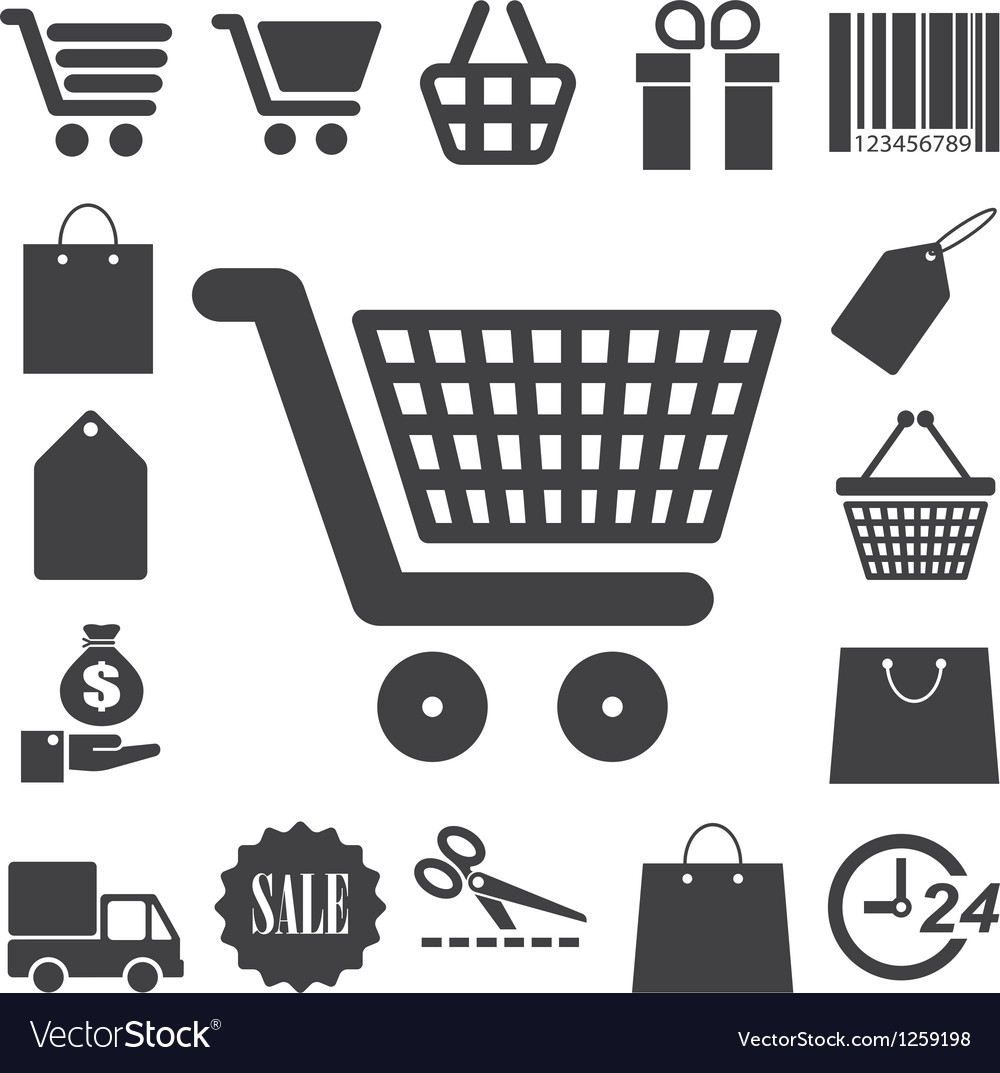 Shopping icons set eps 10 vector | Price: 1 Credit (USD $1)