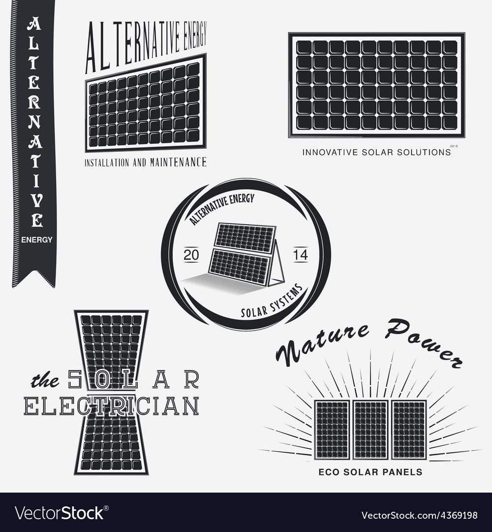 Solar panels alternative eco energy set of vector   Price: 1 Credit (USD $1)