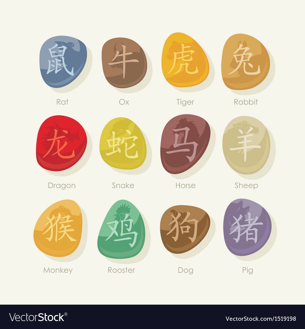 Stones set with chinese zodiac signs vector | Price: 3 Credit (USD $3)