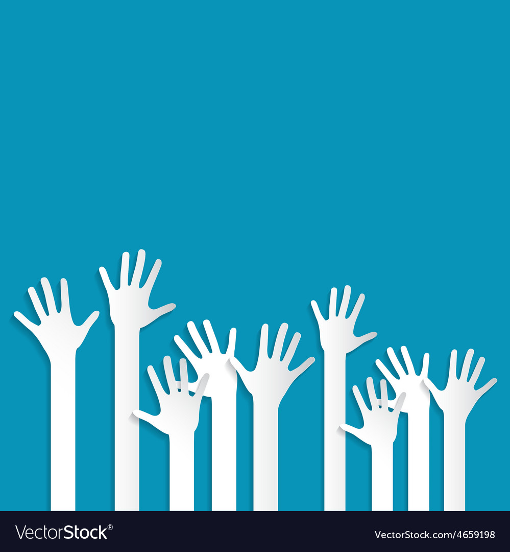 Voting hands on blue background vector   Price: 1 Credit (USD $1)