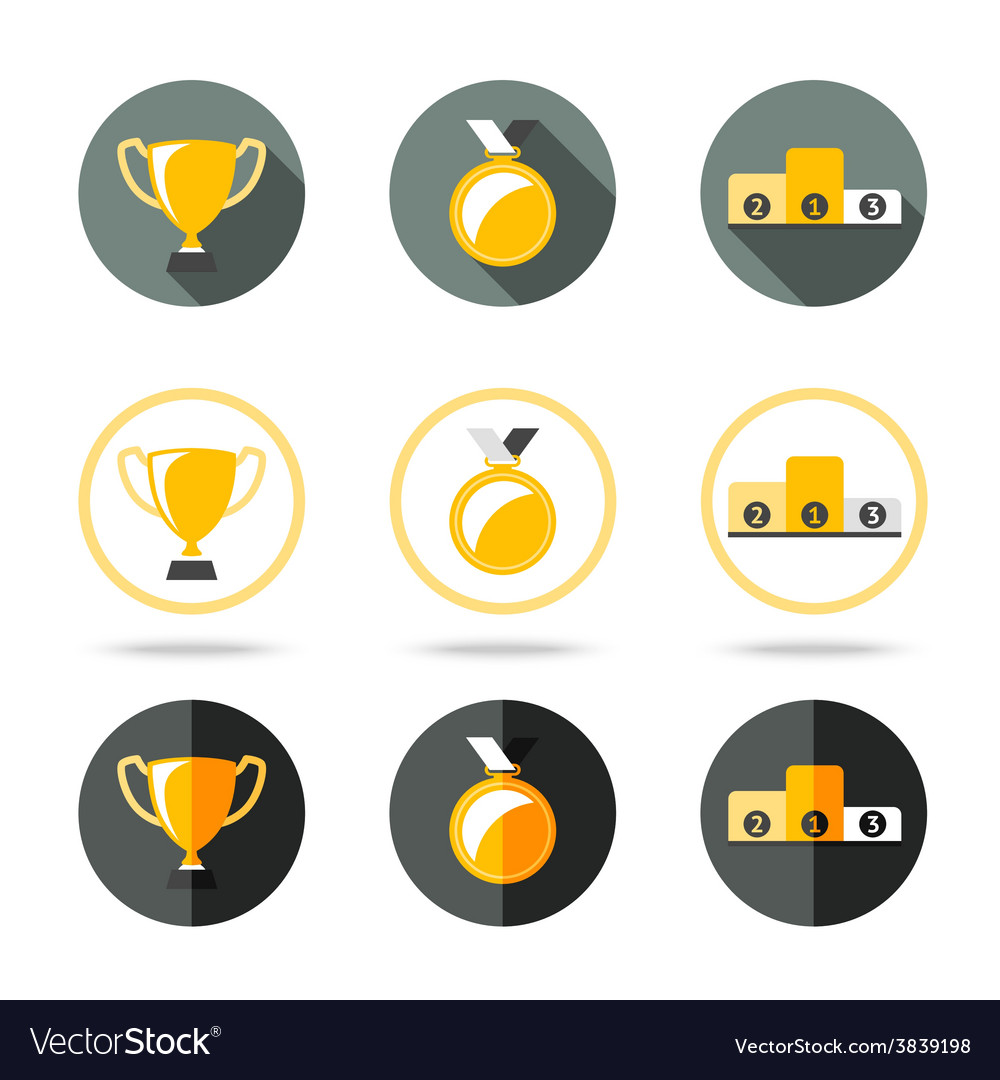 Winners icons set - cup medal and pedestal vector | Price: 1 Credit (USD $1)
