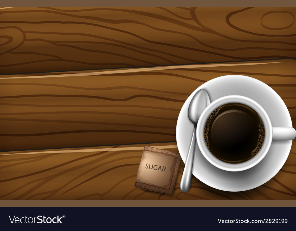 A topview of a table with a cup of coffee vector | Price: 1 Credit (USD $1)
