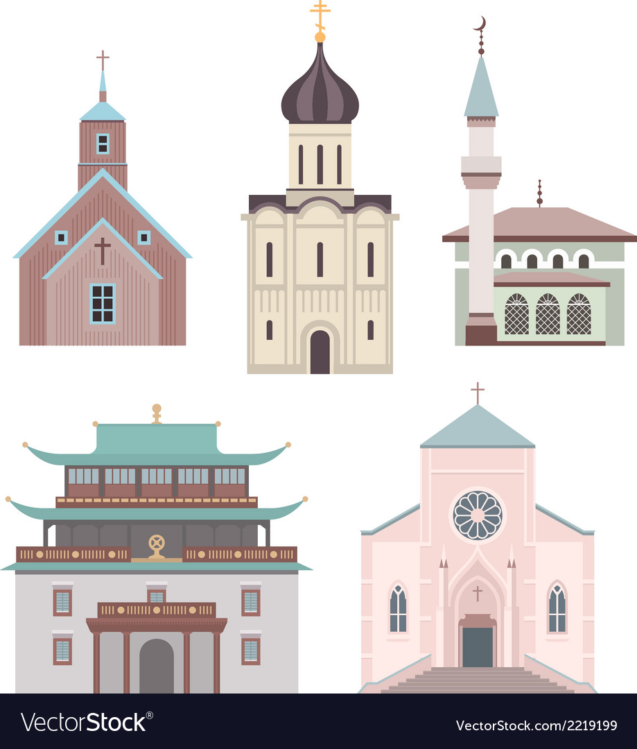 Church flat collection vector | Price: 1 Credit (USD $1)