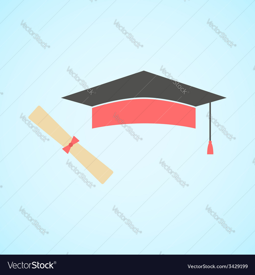 Flat graduation cap and diploma concept of vector | Price: 1 Credit (USD $1)
