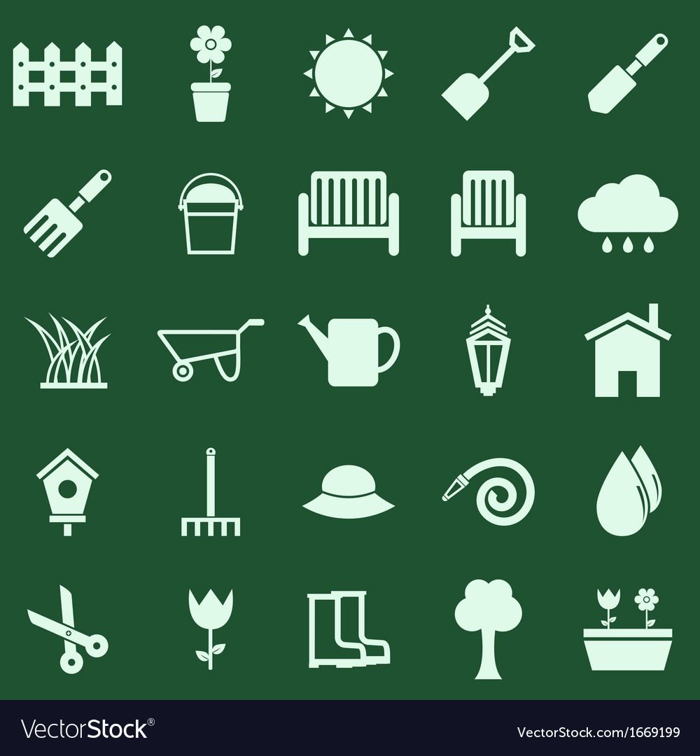 Gardening color icons on green background vector | Price: 1 Credit (USD $1)