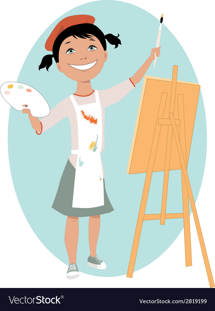Little girl painting a picture vector | Price: 1 Credit (USD $1)