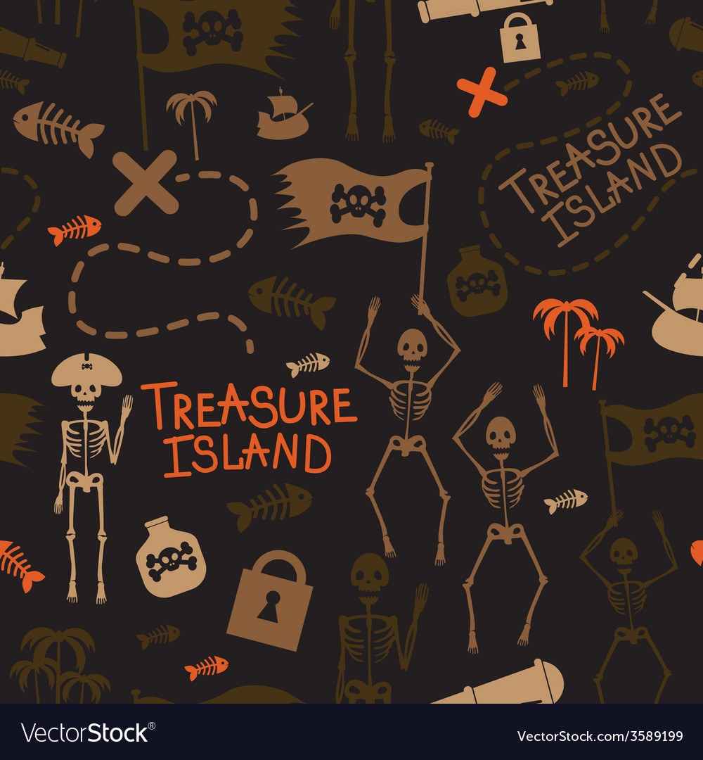 Pirate island seamless pattern vector | Price: 1 Credit (USD $1)