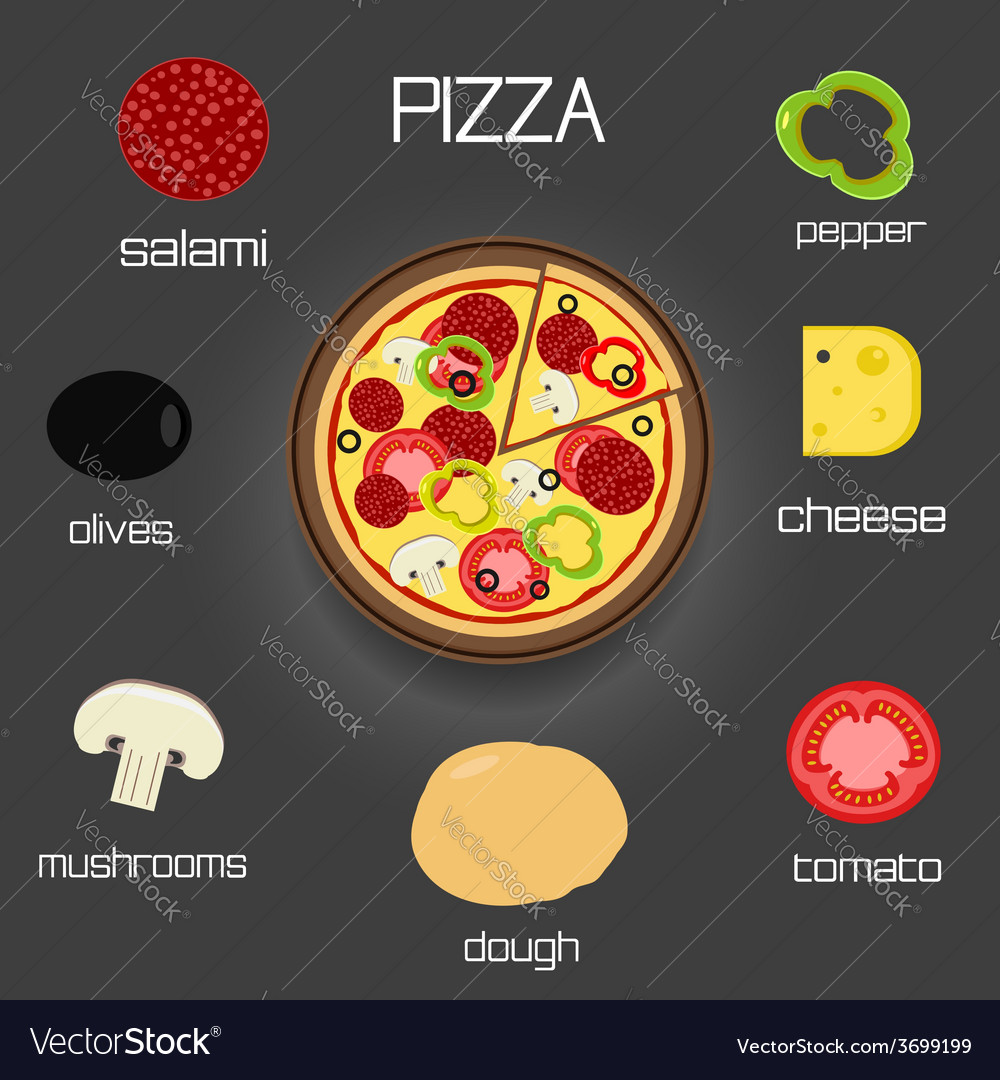 Pizza and ingredients - classic pizza elements vector | Price: 1 Credit (USD $1)