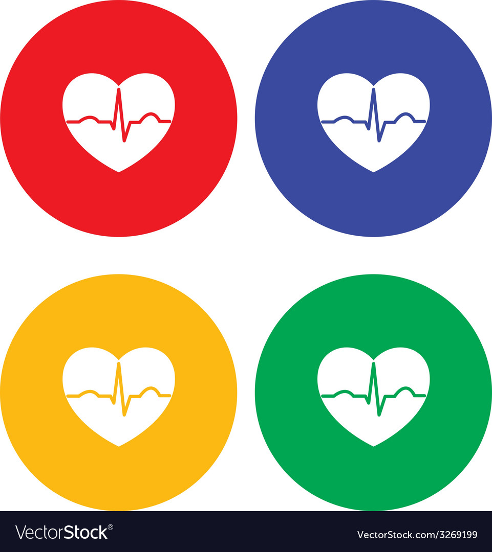 Set of flat simple heart icons vector | Price: 1 Credit (USD $1)