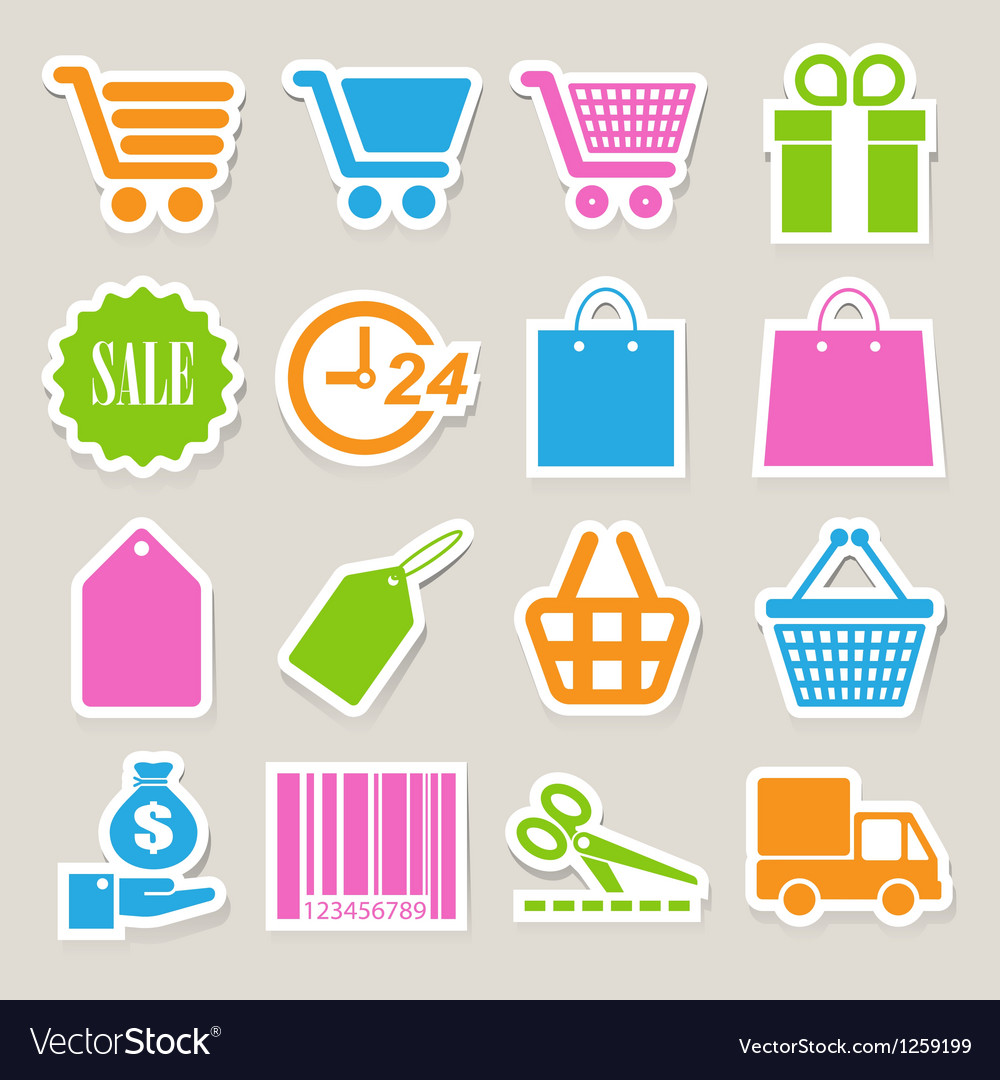 Shopping sticker icons set eps 10 vector | Price: 1 Credit (USD $1)