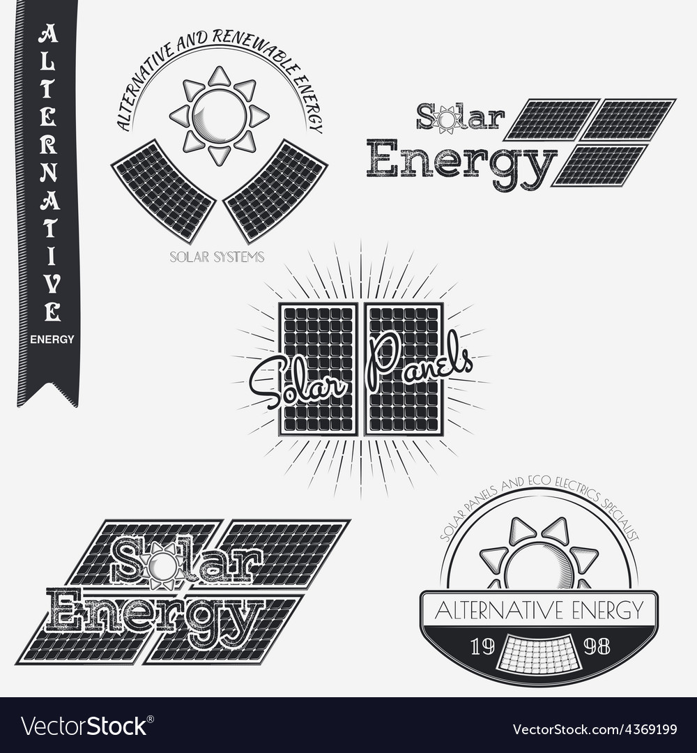 Solar panels alternative eco energy grunge vector | Price: 1 Credit (USD $1)