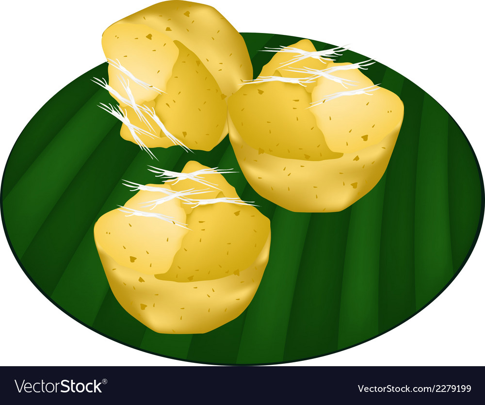 Toddy palm cake on green banana leaf vector | Price: 1 Credit (USD $1)