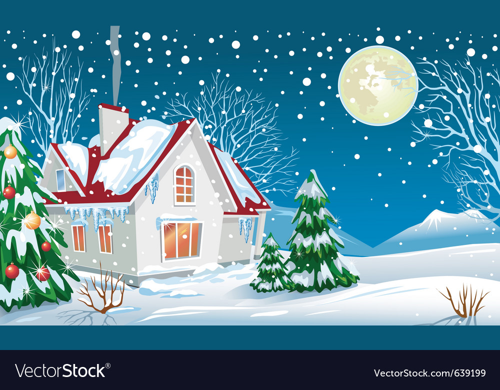 Winter landscape with a house vector | Price: 1 Credit (USD $1)