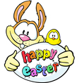 Bunny hold egg and chicken - happy easter vector