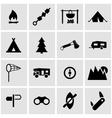 Black camping icon set vector
