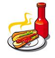 Appetizing hotdog vector