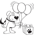 Cartoon dog with balloons vector