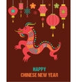 Chinese new year background with red dragon vector