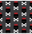 Skull with a bow seamless pattern background vector