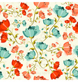 Happy spring poppy flower pattern vector