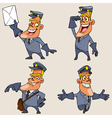 Cartoon character postman with different emotions vector