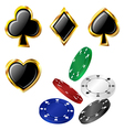 Poker card icon and chip set vector