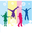 Happy kids on colored background vector