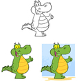 Happy crocodile collection vector