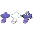 A white and two purple mushrooms vector
