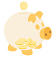 Orange piggy bank with coins vector