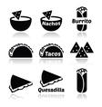Mexican food icons - tacos nachos burrito quesa vector