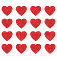 Set of red vintage hearts vector