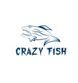Crazy fish cartoon mascot design template vector