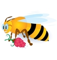 Bee with pink flower vector
