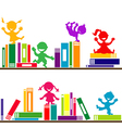 Kids playing books shelves vector