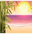 Bamboo trees and leaves on the sand beach vector