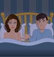 Couple bedroom frustration vector