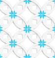 White geometrical flowers and squares layered vector