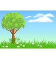 Tree on meadow vector