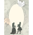 Background with rococo silhouettes vector