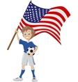 Happy soccer fan holds usa flag vector