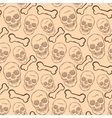 Seamless pattern with brown skulls and bones vector
