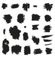 Grunge painted brush strokes design elements set vector
