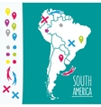 Vintage hand drawn south america travel map with vector