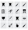 Black dental icon set vector