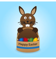 Happy easter rabbit with basket full of eggs eps10 vector